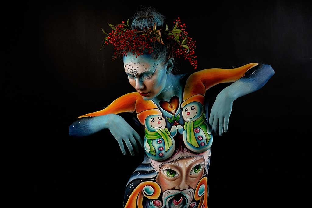 Body Painting, Body Art, Face Painting | Marzia Bedeschi - Merry Christmas 2016