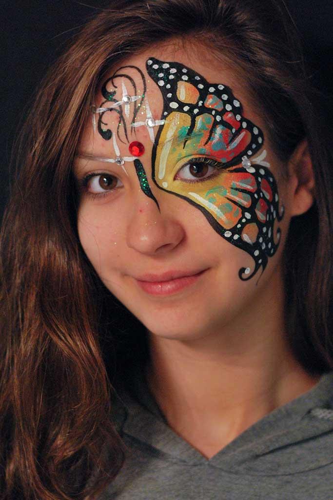 Facepainting, Bodypainting, BodyArt | Marzia Bedeschi - one side butterfly